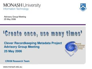 Advisory Group Meeting 25 May 2006