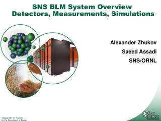 SNS BLM System Overview  Detectors, Measurements, Simulations