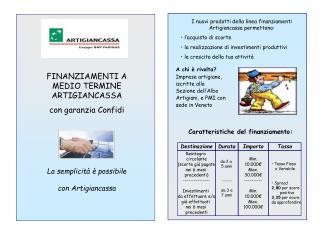 FINANZIAMENTI A  MEDIO TERMINE ARTIGIANCASSA con garanzia Confidi