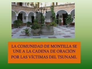 LA COMUNIDAD DE MONTILLA SE UNE A LA CADENA DE ORACIÓN POR LAS VÍCTIMAS DEL TSUNAMI .