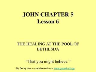 JOHN CHAPTER 5 Lesson 6
