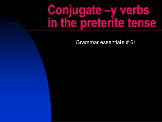 Conjugate –y verbs in the preterite tense