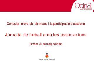 Consulta sobre els districtes i la participació ciutadana Jornada de treball amb les associacions