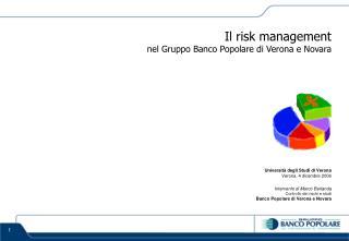 Il risk management  nel Gruppo Banco Popolare di Verona e Novara