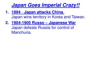 Japan Goes Imperial Crazy!!
