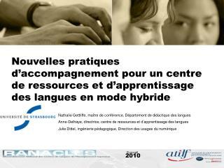 Nathalie Gettliffe, maître de conférence, Département de didactique des langues