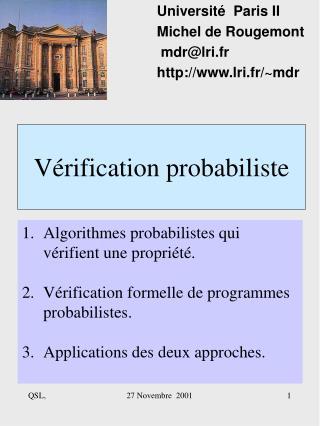 Vérification probabiliste