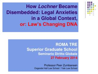 How  Lochner  Became Disembedded: Legal Anxieties in a Global Context, or: Law's Changing DNA