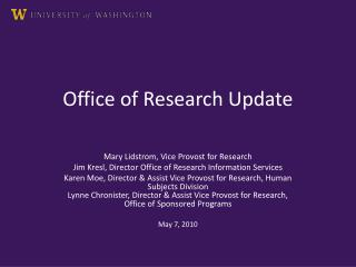 Office of Research Update