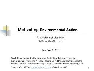 Motivating  Environmental Action