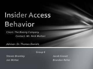 Insider Access Behavior