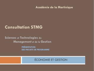 Consultation STMG Sciences  et  Technologies  du Management  et de la  Gestion et de la gestion