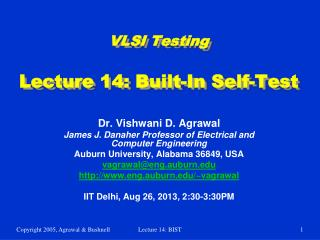 VLSI Testing Lecture 14: Built-In Self-Test