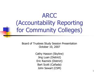 ARCC (Accountability Reporting for Community Colleges)