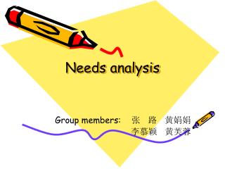 Needs analysis