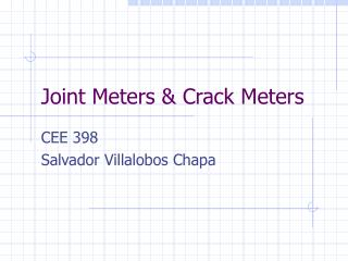 Joint Meters & Crack Meters