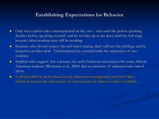 Establishing Expectations for Behavior