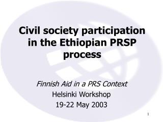 Civil society participation in the Ethiopian PRSP process
