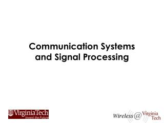 Communication Systems and Signal Processing
