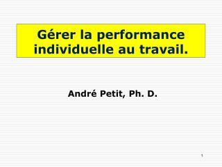 Gérer la performance individuelle au travail.