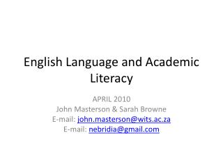 English Language and Academic Literacy