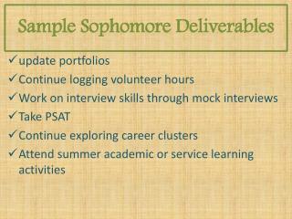 Sample  Sophomore  Deliverables