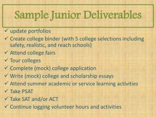 Sample  Junior Deliverables