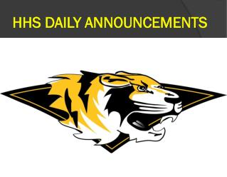 HHS DAILY ANNOUNCEMENTS