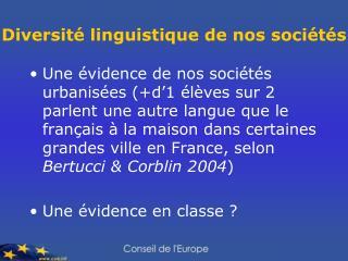 Diversité linguistique de nos sociétés