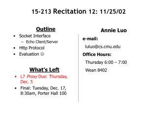 15-213  Recitation  12: 11/25/02