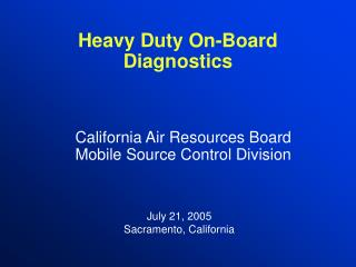 Heavy Duty On-Board Diagnostics