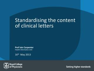 Standardising the content of clinical letters