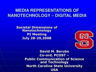 MEDIA REPRESENTATIONS OF NANOTECHNOLOGY – DIGITAL MEDIA