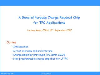 A General Purpose Charge Readout Chip  for TPC Applications