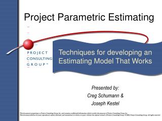 Project Parametric Estimating
