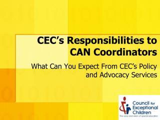 CEC's Responsibilities to CAN Coordinators