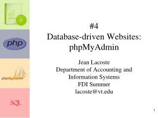 #4 Database-driven Websites: phpMyAdmin