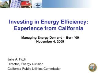 Investing in Energy Efficiency: Experience from California