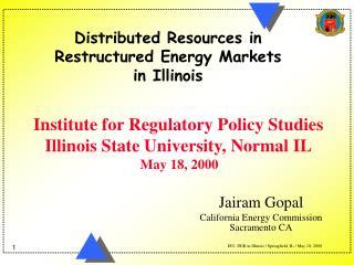 Jairam Gopal California Energy Commission Sacramento CA