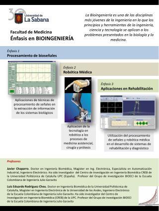 Facultad de Medicina Énfasis en BIOINGENIERÍA