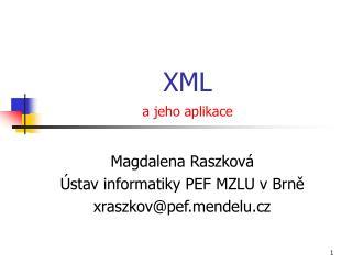 XML a jeho aplikace