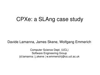 CPXe: a SLAng case study