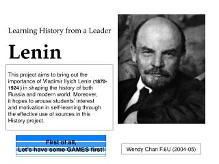 Learning History from a Leader Lenin