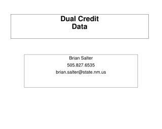 Dual Credit Data