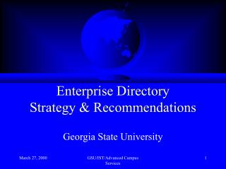 Enterprise Directory Strategy & Recommendations