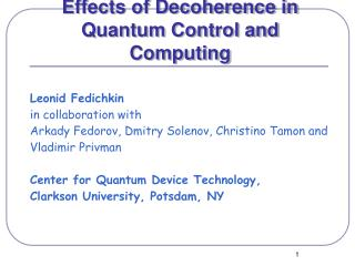Effects of Decoherence in  Quantum Control and Computing