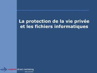 La protection de la vie privée et les fichiers informatiques