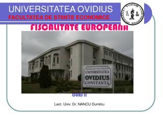 UNIVERSITATEA OVIDIUS FACULTATEA DE STIINTE ECONOMICE