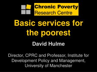 Basic services for the poorest