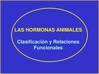 LAS HORMONAS ANIMALES Clasificación y Relaciones Funcionales